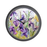 Purple iris Wall Clocks