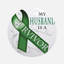 My Husband is a Survivor (green) Round Ornament