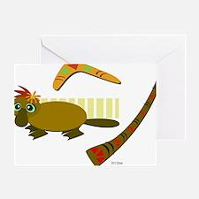 Platypus, Boomerang, and Didgeridoo Greeting Card