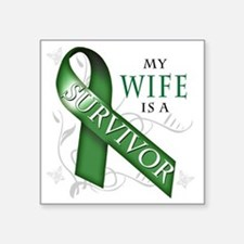 "My Wife is a Survivor (gree Square Sticker 3"" x 3"""