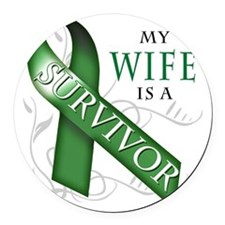 My Wife is a Survivor (green) Round Car Magnet