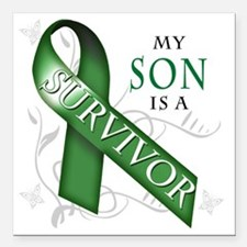 """My Son is a Survivor (gr Square Car Magnet 3"""" x 3"""""""