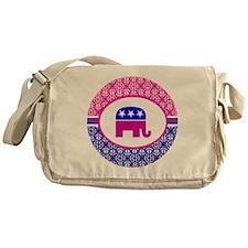 Pink and Blue Damask Republican Messenger Bag