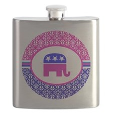 Pink and Blue Damask Republican Flask