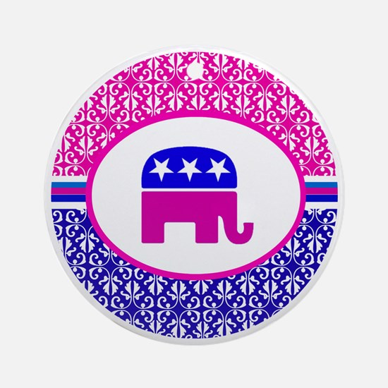 Pink and Blue Damask Republican Round Ornament