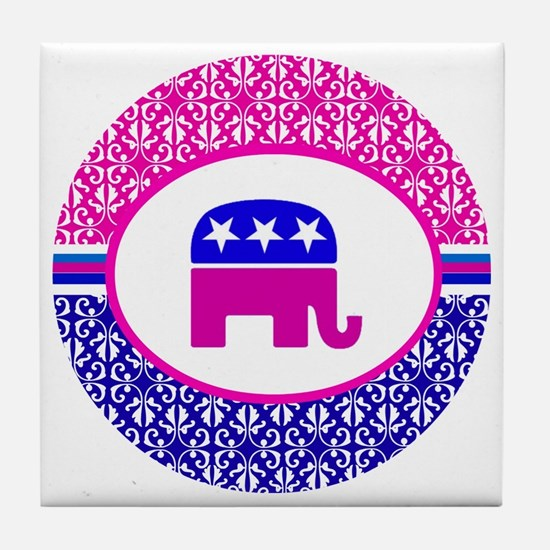 Pink and Blue Damask Republican Tile Coaster