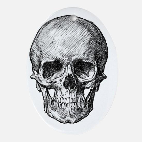 Human skull drawing Oval Ornament