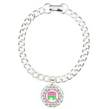 Pink and Green Republica Charm Bracelet, One Charm
