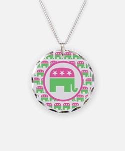 Pink and Green Republican Necklace Circle Charm