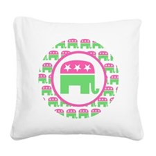 Pink and Green Republican Square Canvas Pillow