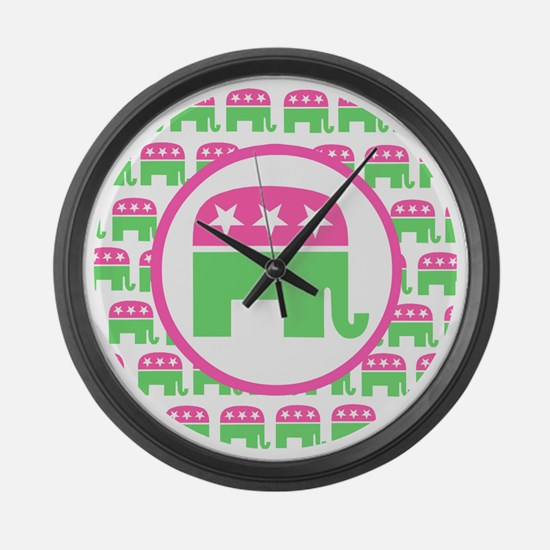 Pink and Green Republican Large Wall Clock