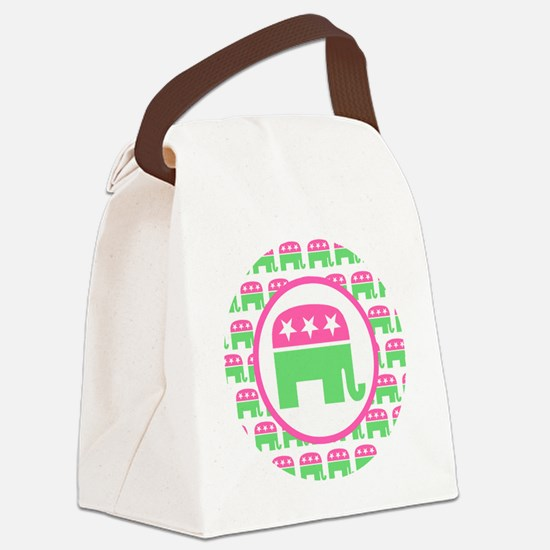 Pink and Green Republican Canvas Lunch Bag