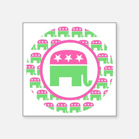 "Pink and Green Republican Square Sticker 3"" x 3"""