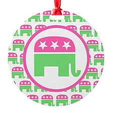 Pink and Green Republican Ornament