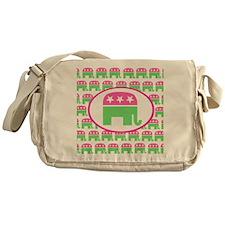 Pink and Green Preppy Republican Messenger Bag