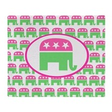 Pink and Green Preppy Republican Throw Blanket