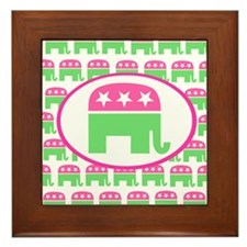 Pink and Green Preppy Republican Framed Tile