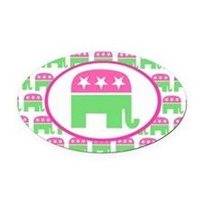 Pink and Green Preppy Republican Oval Car Magnet