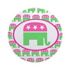 Pink and Green Preppy Republican Round Ornament