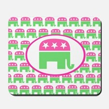 Pink and Green Preppy Republican Mousepad