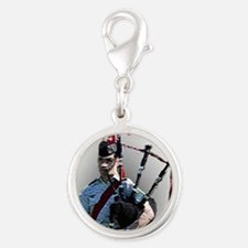 Play the Bagpipes Silver Round Charm