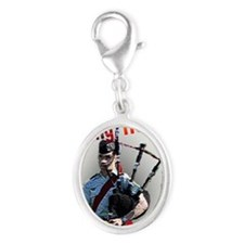 Play the Bagpipes Silver Oval Charm