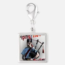 Play the Bagpipes Silver Square Charm