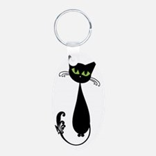 black cat sitting Keychains