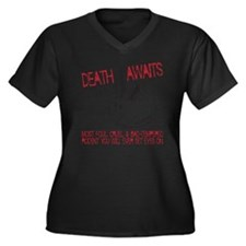 death awaits Women's Plus Size Dark V-Neck T-Shirt