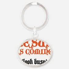 jesus is coming Oval Keychain