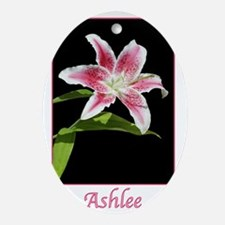 Stargazer Lily with name Ashlee Oval Ornament