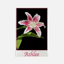 Stargazer Lily with name Ashlee Rectangle Magnet