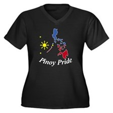 Pinoy Pride  Women's Plus Size Dark V-Neck T-Shirt