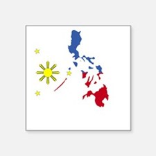 "Pinoy Pride Map for dark ga Square Sticker 3"" x 3"""