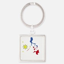 Pinoy Pride Map for dark garmets Square Keychain