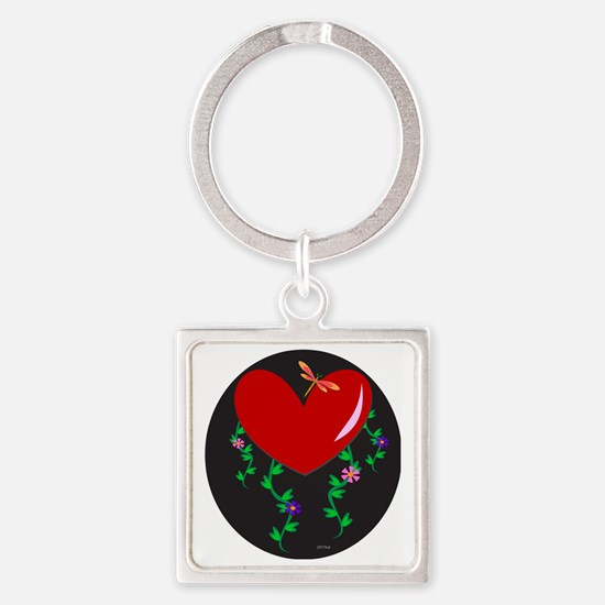Heart with Dragonfly and Plants Square Keychain