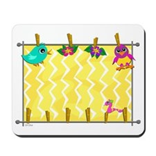 Clothespin Animals and Flowers Hanging Mousepad