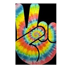tie-dye-peace-hand-OV Postcards (Package of 8)