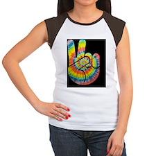 tie-dye-peace-hand-TIL Women's Cap Sleeve T-Shirt