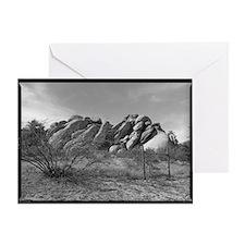 rocks, bush and fence line Greeting Card