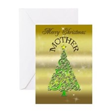 For mother, a gold effect Christmas card Greeting