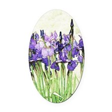 Irises Oval Car Magnet
