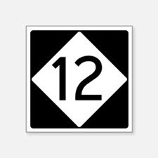 "Route 12 Road Sign Square Sticker 3"" x 3"""