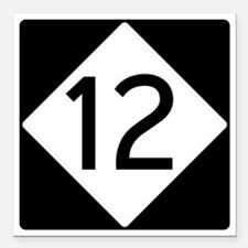 """Route 12 Road Sign Square Car Magnet 3"""" x 3"""""""