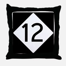 Route 12 Road Sign Throw Pillow