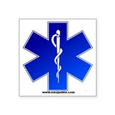 "Star of Life Logo Square Sticker 3"" x 3"""