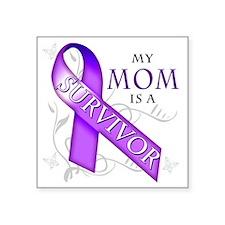 "My Mom is a Survivor (purpl Square Sticker 3"" x 3"""