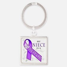 My Niece is a Survivor (purple) Square Keychain