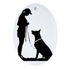 German Shepherd Obedience Oval Ornament