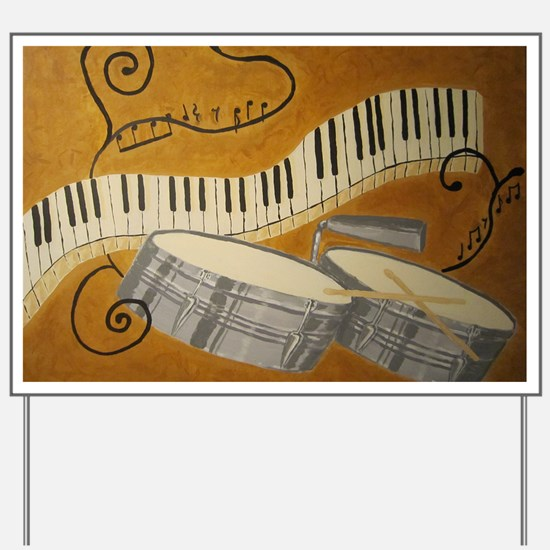 salsa painting with timbales and piano Yard Sign